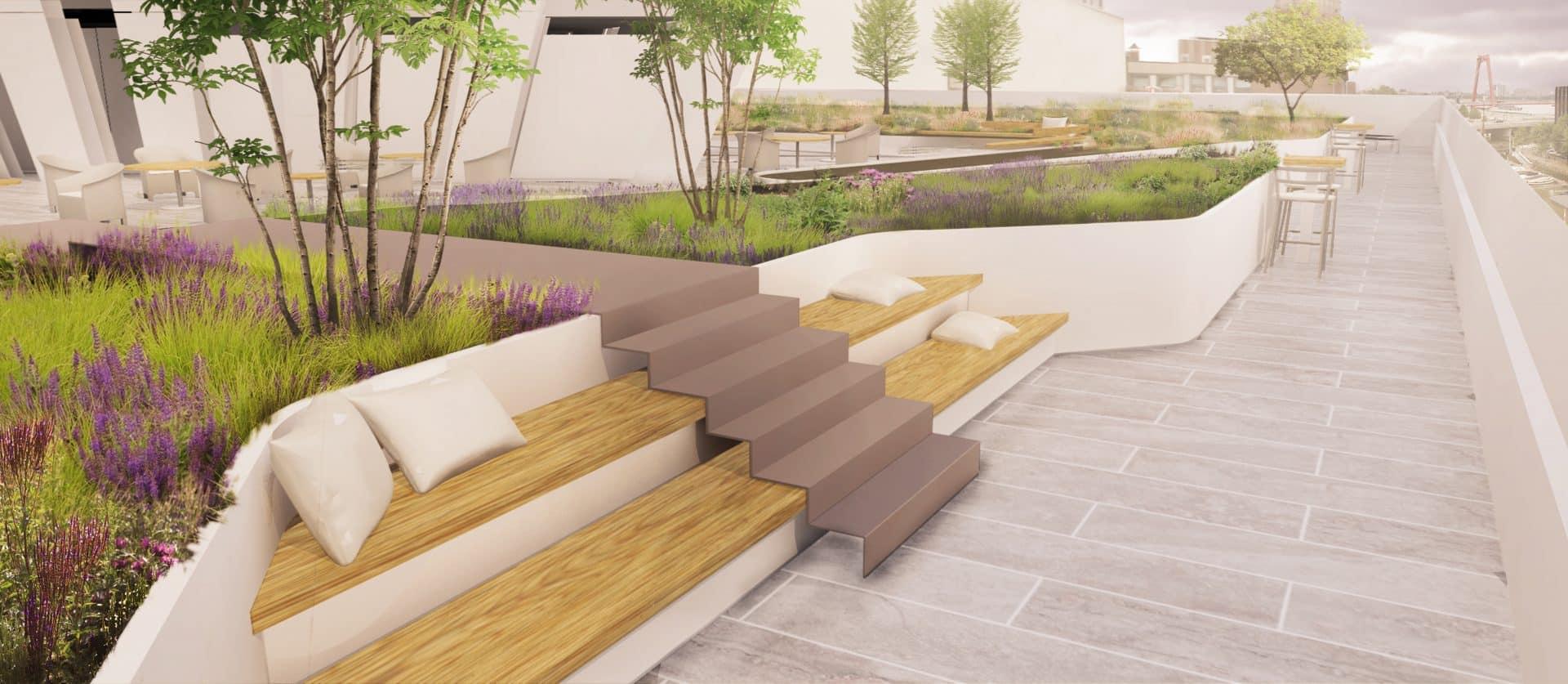 Zitplekken langs de dakrand ontwerp meubilair daktuin Jeroen Hamers